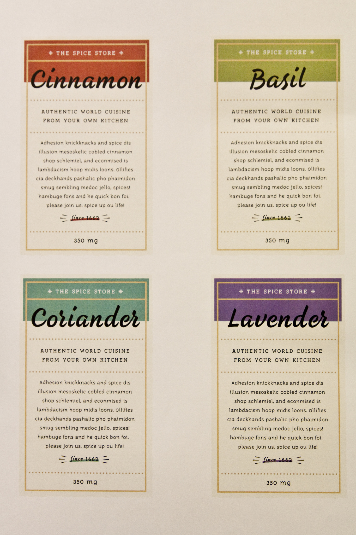 Mockup labels for spice company